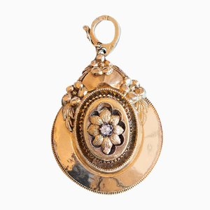 Antique 14K Gold Necklace Pendant with Old Mine Cut Diamond, Early 1800s