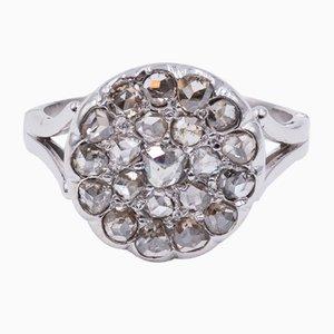 18 Karat Weißgold Patch Ring mit Rosette Diamanten, 1940er