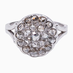 18K White Gold Patch Ring with Rosette Cut Diamonds, 1940s