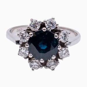 Vintage 14K Gold Ring with Brilliant Cut Diamonds and Sapphire, 1960s