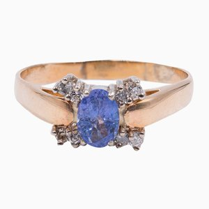 Vintage 14 Karat Gold Ring mit Zentralen Tansaniten & Diamanten, 1970er