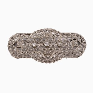 Spilla Art Deco color platino interamente ricoperta di diamanti a taglio brillante