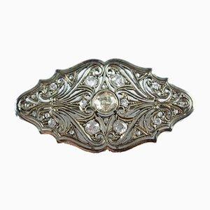 Spilla Art Deco color platino interamente ricoperta di diamanti a taglio brillante, anni '30
