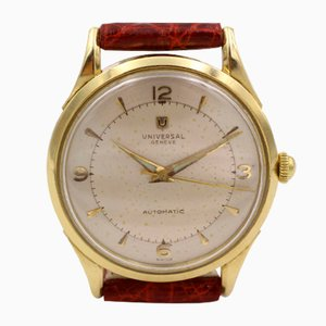 Vintage Universal Geneve Automatic Hammer Bumper Wristwatch in 18k Gold, 1950s