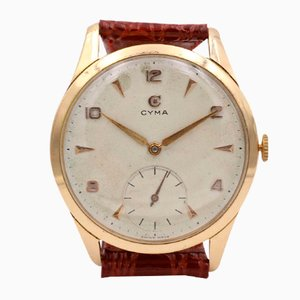 Vintage Oversize Cyma Wristwatch in 18k Gold, 1950s