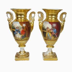 Bemalter und Vergoldeter Empire Krug, Gallant Szenen und Landschaften, Frühes 19. Jh