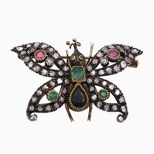 Antike Gold und Silber Brosche mit Diamanten, Rubinen, Smaragden und Saphiren. Jugendstil