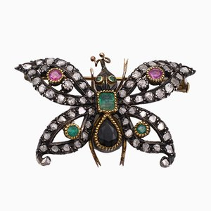 Antique Gold and Silver Brooch with Diamonds, Rubies, Emeralds and Sapphire. Art Nouveau