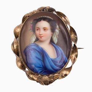 Antike 14k Gold Brosche mit Miniatur auf Porzellan, spätes 18. Jahrhundert