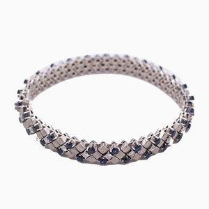 Bracelet in White Gold, Sapphires and Brilliant Cut Diamonds