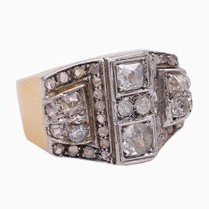 Vintage Ring in Gold & Silber mit Diamantenen Rosetten, 1930er