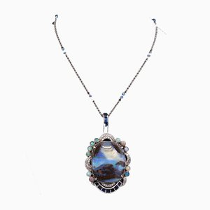 Vintage Pendant in White Gold with Large Boulder Opal, Brilliant Cut Diamonds, Sapphires & White Gold Chain with Opals, 1940s