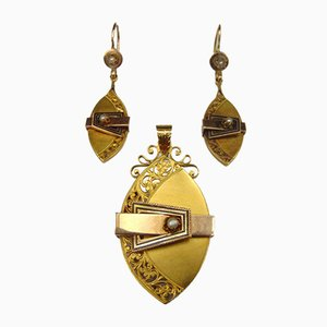 Bourbon Brosche oder Hängelampe und Ohrringe in Gold mit Perlen, spätes 19. Jahrhundert