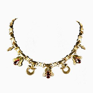 Vintage Gold Necklace with Red Stones in Box, 1940s