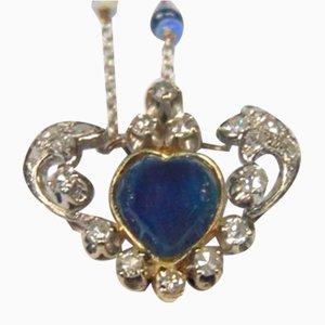 Vintage White Gold Necklace with Cabochon Sapphire, Brilliant Cut Diamonds, Opals & Chain, 1940s