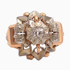 Vintage 18 Karat Gelb- und Weißgold Ring mit Zentralem Diamanten, 1950er