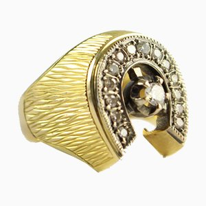 Vintage Gold Ring with Brilliant Cut Diamonds, 1940s