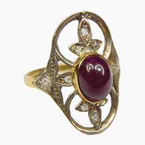 Vintage Gold and Silver Ring with Cabochon Ruby and Small Rosette Cut Diamonds, 1940s