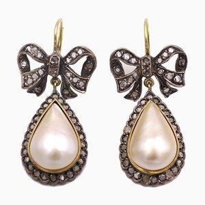 Boucles d'Oreilles Dorées et Argentées avec Diamants Taille Rosette et Perles Mabe