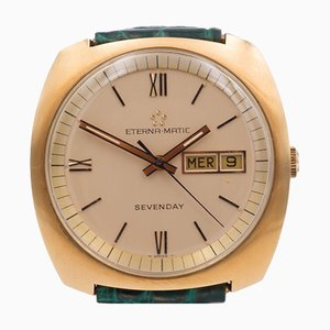 Vintage Seven-Day Automatic Eterna Matic Wristwatch in 18K Gold from Eterna