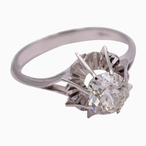 White Gold Solitaire Ring with Brilliant Cut Diamond, 1940s