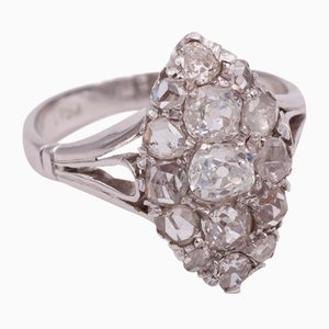 Antique White Gold Ring with Diamonds, 1930s
