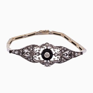 Art Nouveau Necklace or Bracelet in Gold and Silver with Diamonds and Onyx