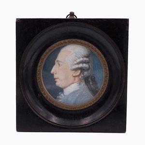 Miniatur mit Profil eines Herrn auf Elfenbein, frühes 18. Jahrhundert