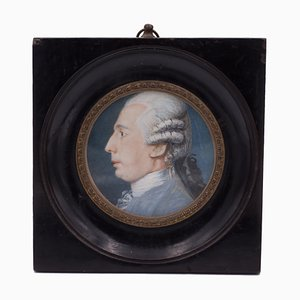 Miniature with Profile of a Gentleman on Ivory, Early 18th Century
