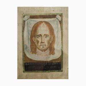 Miniatur aus Pergament mit Darstellung Christi auf Veronica's Schleier, Mitte 20. Jahrhundert