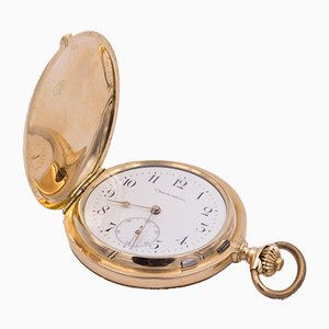 Reloj de bolsillo Savonette Chronometer en oro de 14 quilates con escape Detente, finales de 1800