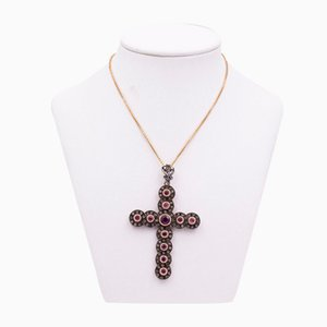 Antique Cross in Gold and Silver with Rubies and Diamond Rosettes, Early 1900s