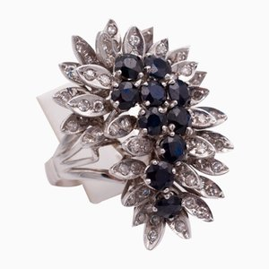 Vintage White Gold Ring with Diamonds and Sapphires, 1960s