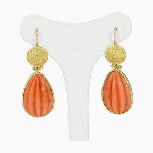 Goldene Vintage Ohrringe mit Koralle, 1950er