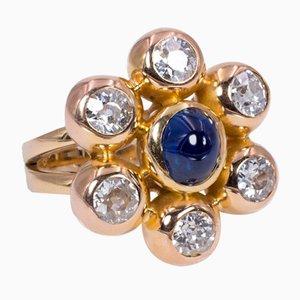 Anello vintage in oro 18 carati con ca. 3K di diamanti e zaffiro a cabochon, anni '80