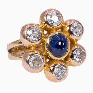 Vintage 18K Gold Ring with Approx. 3K of Diamonds and Cabochon Sapphire, 1980s