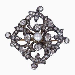 Antike Brosche in Gold und Silber mit Diamanten aus alten Diamanten, Rosetten und Perlen, Frühen 1900er