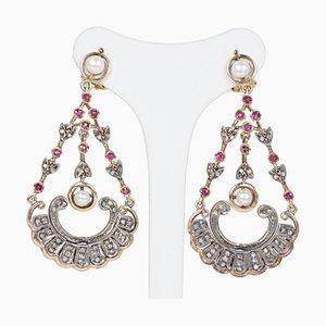 Boucles d'Oreilles Style Antique en Or 14K et Argent avec Diamants, Rubis et Perles