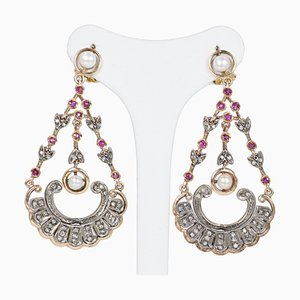Orecchini antichi in oro 14K e argento con diamanti, rubini e perle