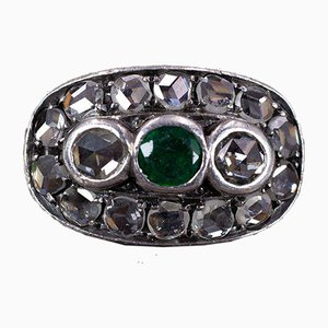Antique Ring in 18K Gold and Silver with Emerald and Diamond Rosettes, Early 1900s