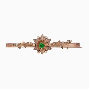 Bourbon Brooch in Low Gold with Green Glass Paste