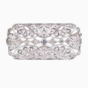 Antique Art Deco Brooch in Platinum with Cut Diamonds and Rosettes
