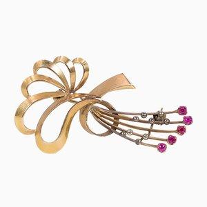 Spilla vintage in oro 18k con rubini, anni '40