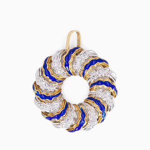Vintage Pendant in 18k Gold with Diamonds and Blue Enamels, 1970s