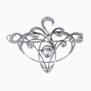 Antique Art Nouveau Brooch in 18k Gold with Coroné Rose Cut Diamonds, 1910s