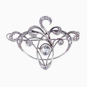 Spilla Art Nouveau antica in oro 18k con diamanti con taglio a rosa coroné, anni '10