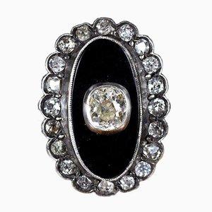 Antiker Ring aus 18 Karat Gold und Silber mit Onyx & Diamanten, 1900er