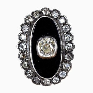 Antique Ring in 18k Gold and Silver with Onyx and Diamonds, 1900s