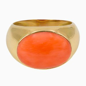 Vintage Gold and Coral Ring, 1950s