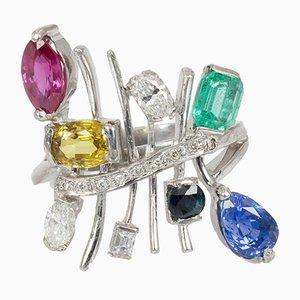 Vintage Ring in Weißgold mit Diamanten, Saphiren, Rubin, Smaragd & Topas, 1970er
